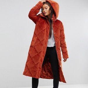 ASOS Longline Padded Velvet Puffer Coat